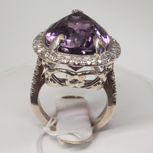 Load image into Gallery viewer, Sterling Silver Ladies Amethyst Ring with Round CZs