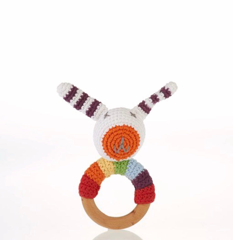 Bunny Rattle With Teething Ring