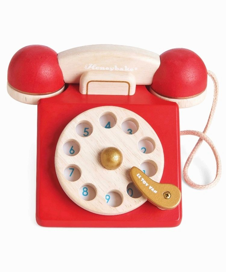 Red Vintage Style Wooden Phone
