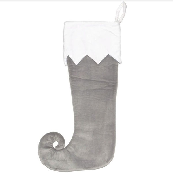 Personalised Embroidered Christmas Stocking - Grey Elf Toe