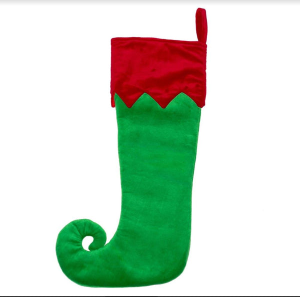 Personalised Embroidered Christmas Stocking - Green Elf Toe