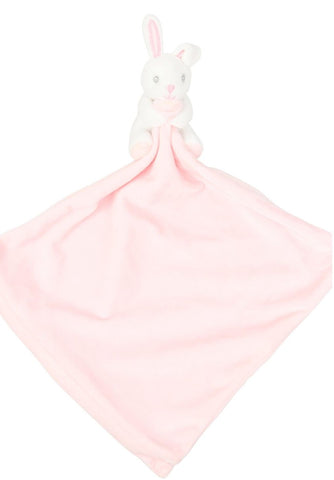 Personalised Embroidered Pink Bunny Rabbit Blankie with Rattle