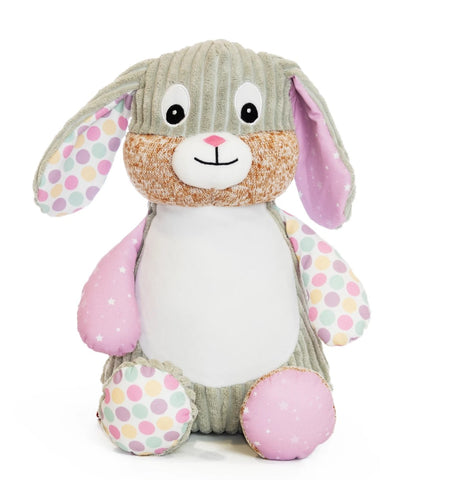 Personalised Embroidered Baby Sensory Bunny Rabbit - Bubblegum