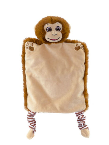 Personalised Embroidered Monkey Puppet Comforter Blankie