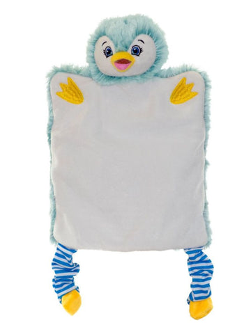 Personalised Embroidered Penguin Puppet Comforter Blankie