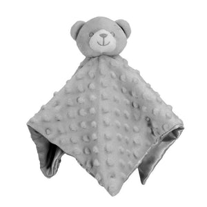 Personalised Grey Bear Bubble and Silky Baby Blankie