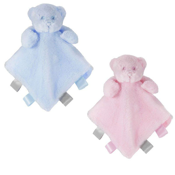Personalised Blue Bear comforter Blankie with ribbon tags