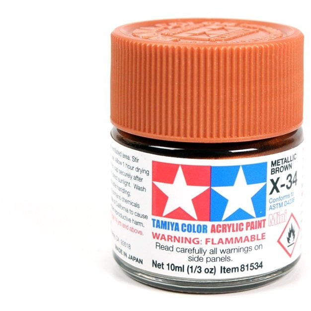 Acrylic Mini X-34 Met Brown 10Ml Bottle / Tamiya USA