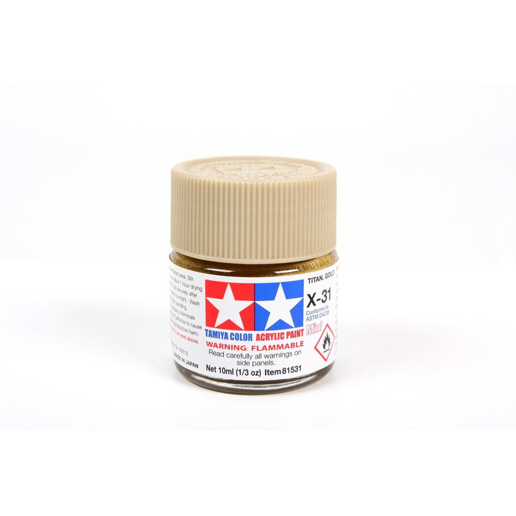 Acrylic Mini X-31 Titan Gold 10Ml Bottle / Tamiya USA