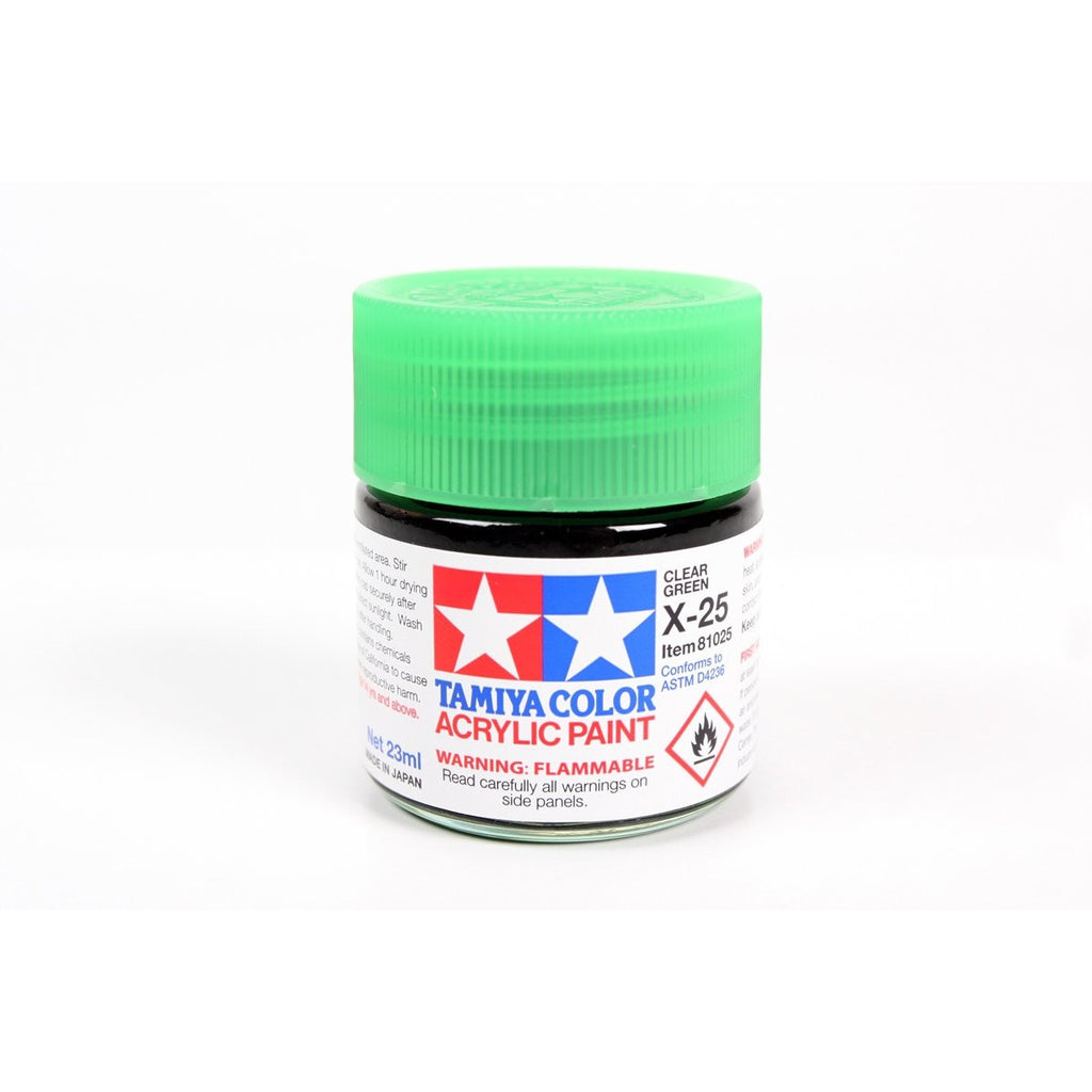 Acrylic X-25 Clear Green 23Ml Bottle / Tamiya USA