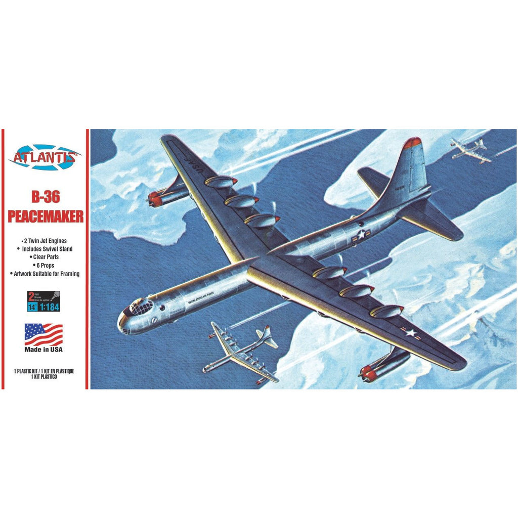 Atlantis 1/184 B-36 Peacemaker Plastic Model Kit with Swivel Stand 1/184