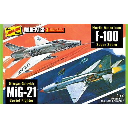 Lindberg Vietnam Era Fighters (F-100 Supersabre & Mig-21BD) 2 Pack 1:72 Scale Model Kit