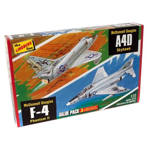 Lindberg Vietnam Era Fighters (F-4G Phantom & A4D Skyhawk) 2 Pack 1:72 Scale Model Kits