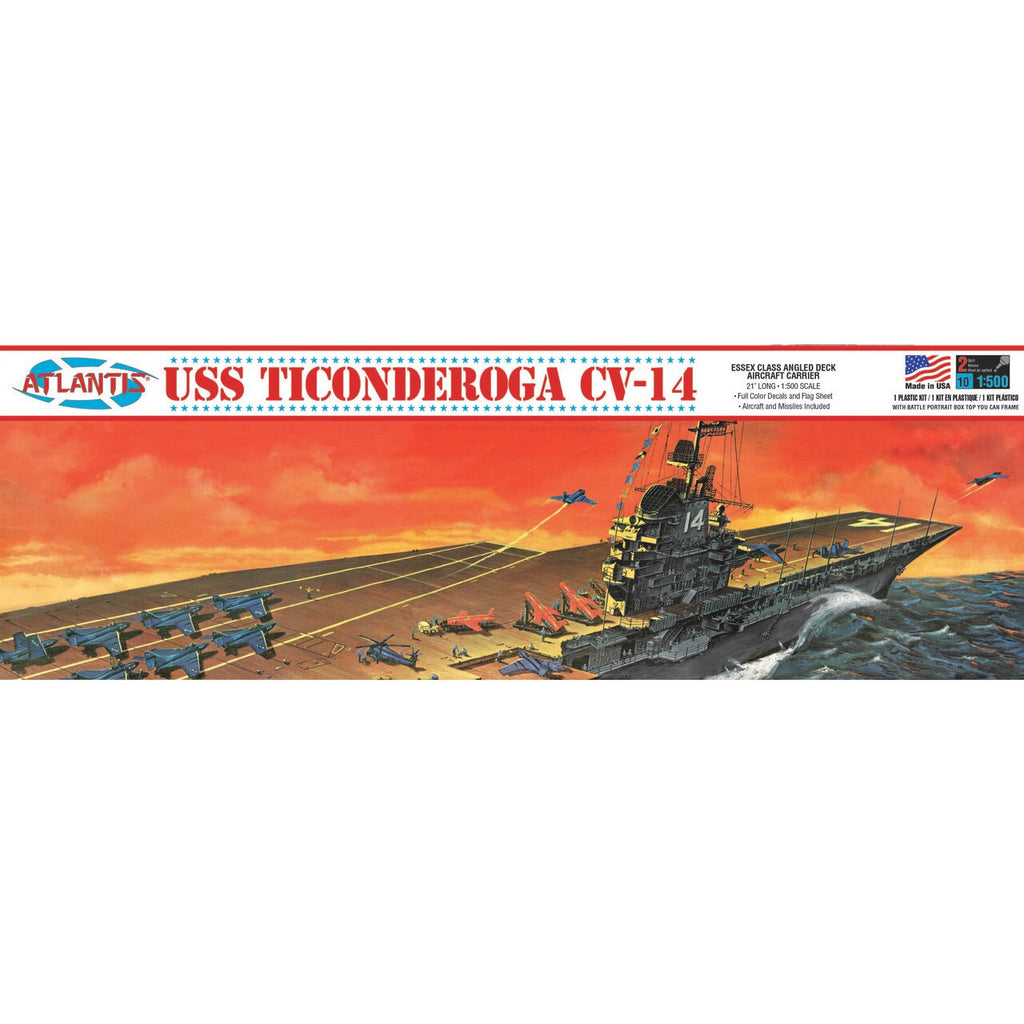 Atlantis 1:500 USS Ticonderoga CV-14 Aircraft Carrier Plastic model kit 1/500