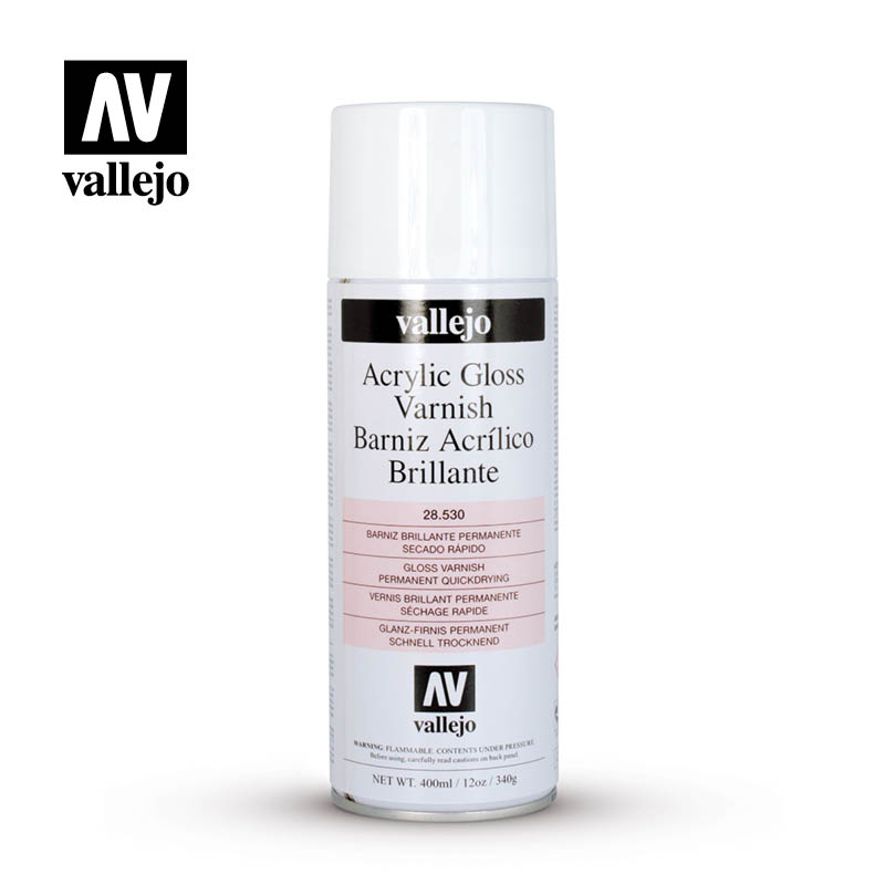 Acrylic Gloss Spray Varnish, for quick and easy protection, by Vallejo.