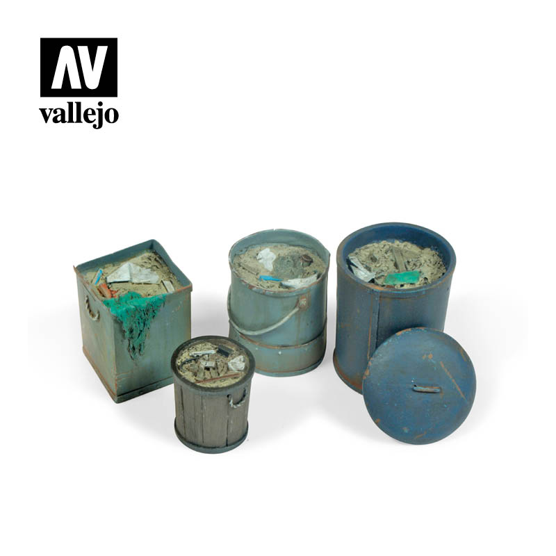 Vallejo Scenics - Assorted Garbage Bins (no. 2)