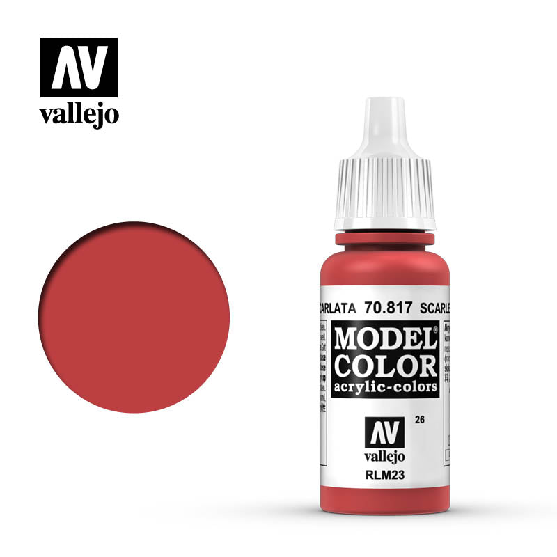 Vallejo Model Color Scarlet 70817 for painting miniatures
