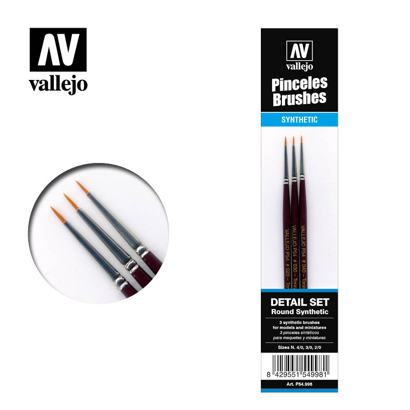 Vallejo Brushes - Detail set (Round synthetic)