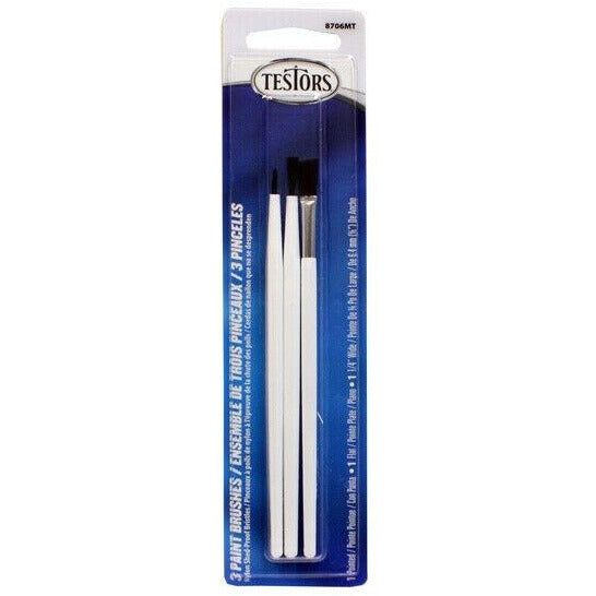 Testors Economy 3-Pack Paint Brushes Flat, Pointed, 1/4