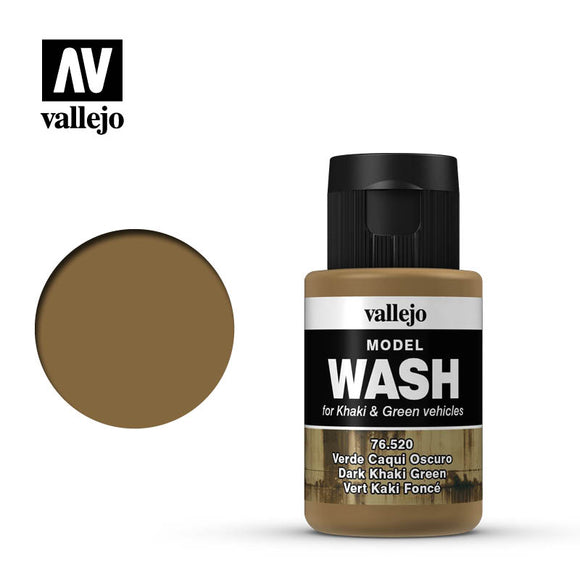 Vallejo Model Wash Dark Khaki Green 76520 in 35 ml bottles