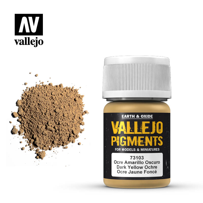 Vallejo Pigment Dark Yellow Ocre 73103 in 35 ml bottles