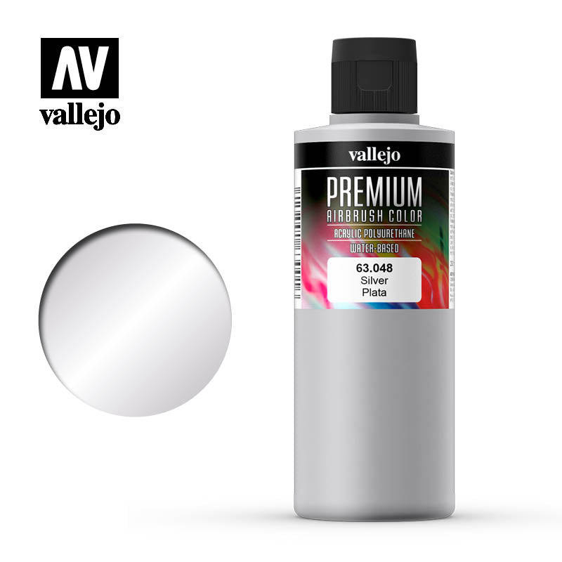 Premium Airbrush Color Vallejo Silver 63048