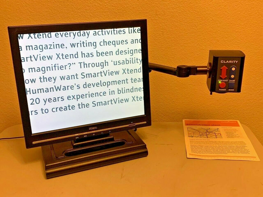 Clarity Portable Eye Level Deskmate Low Vision Video Magnifier 19