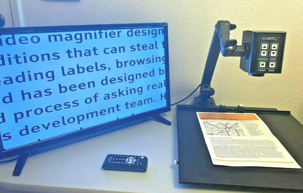 Clarity Flex Arm Low Vision Video Magnifier Eye Level w/ 24