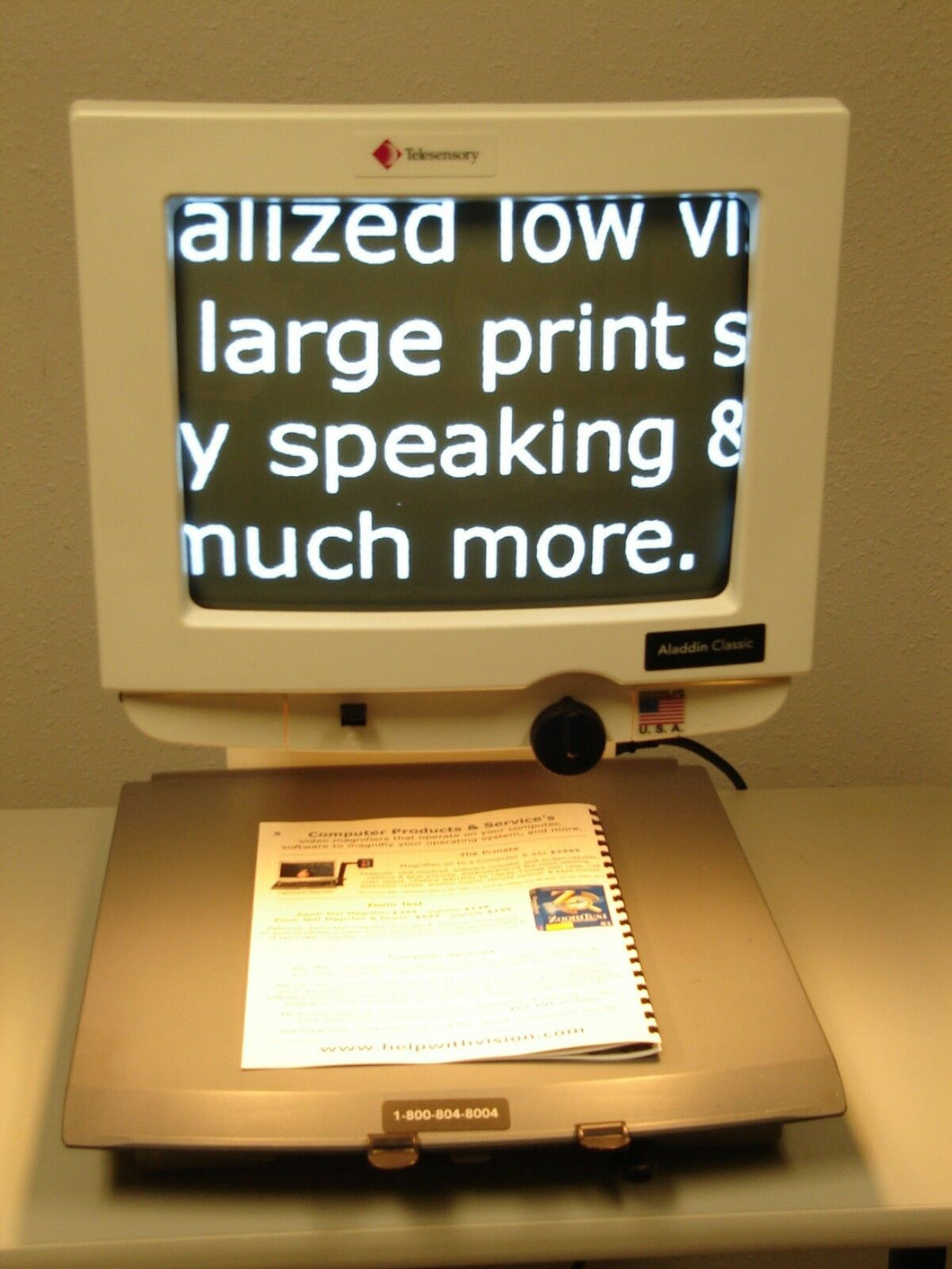 Telesensory B/W Aladdin Classic Low Vision Video Magnifier 25X EASY REFURBISHED