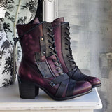 Women's Retro Comfy Chunky-heel Lace-up Boots