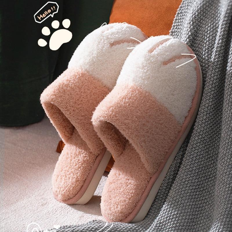 Fluffy Warm Cat Paw Slippers