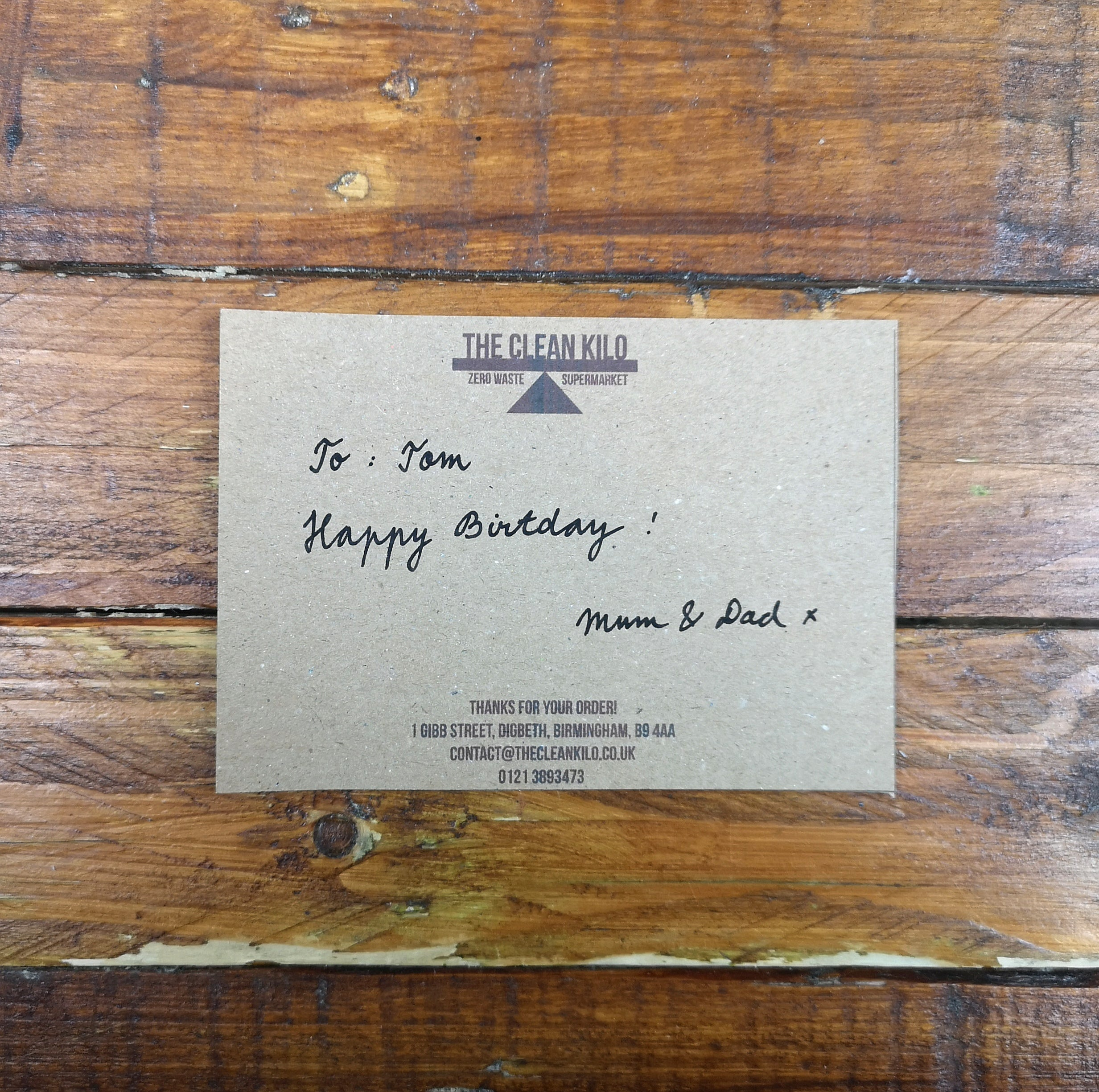 Personalised Message on Brown Card
