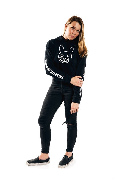 Misfits Gaming Fidget Icon Cropped Hoodie, Black