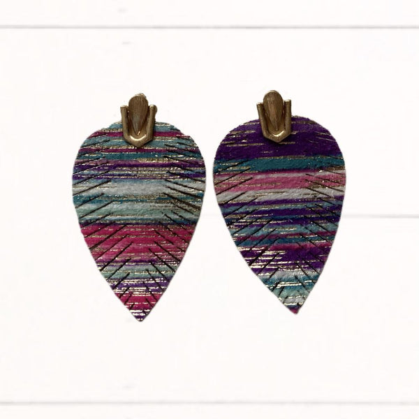 Blue, Purple, Pink, and White Gold Fringe Earrings