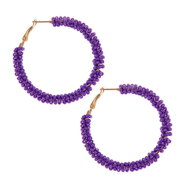 Beaded Purple Hoop Earrings