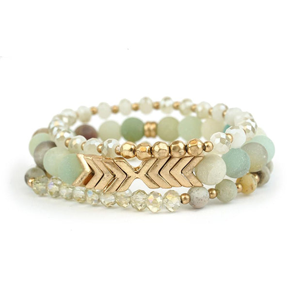 Champagne, Mint & Gold Arrows Stacking Bracelets