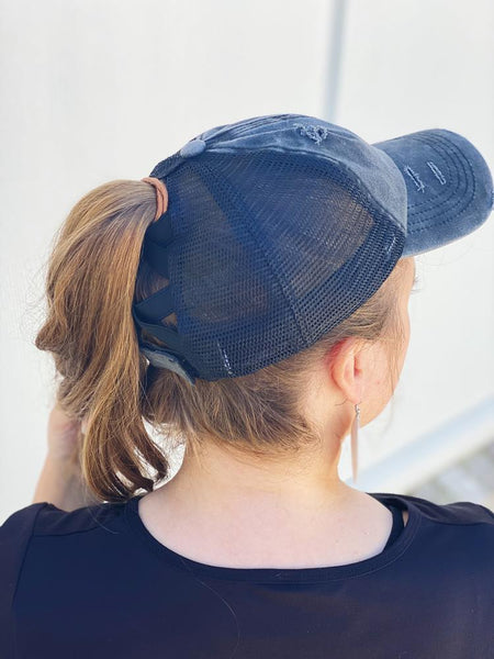 C.C. Distressed Ponytail Hats (Multiple Options Available)