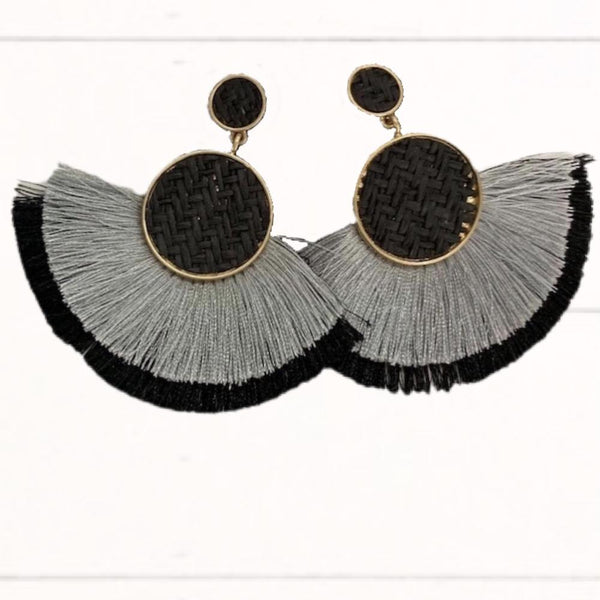 Black, Gray, and Gold Woven Earrings with Double Layer Fringe