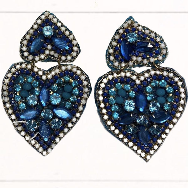 Beaded Blue Double Heart Earrings