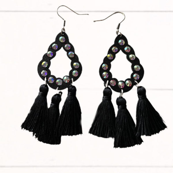 Black & Rhinestone Fringe Earrings