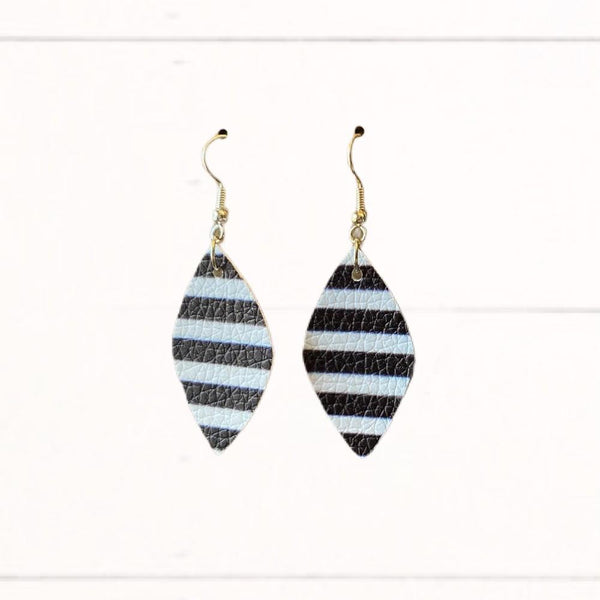 """Layla"" Earrings - Black & White Stripe (Mini Size)"