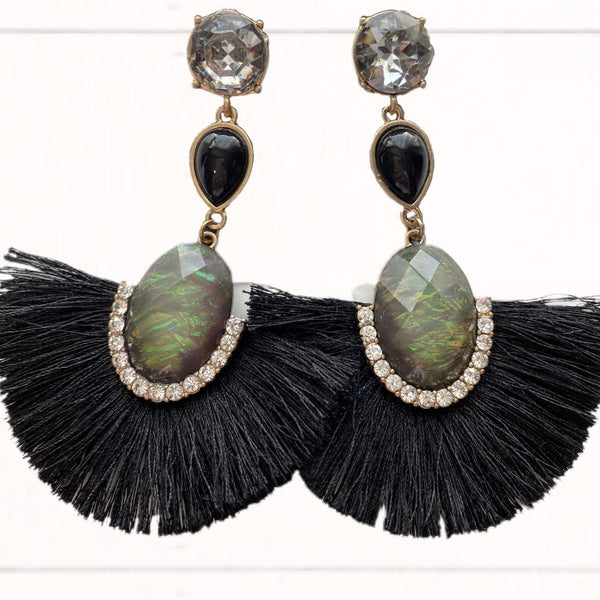 Black & Gold Gem Drop Rhinestone Fringe Earrings