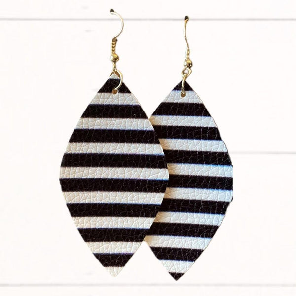 """Layla"" Earrings - Black & White Stripe (Regular Size)"