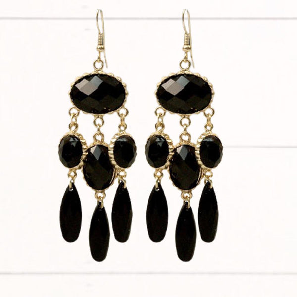 Black & Gold Chandelier Earrings