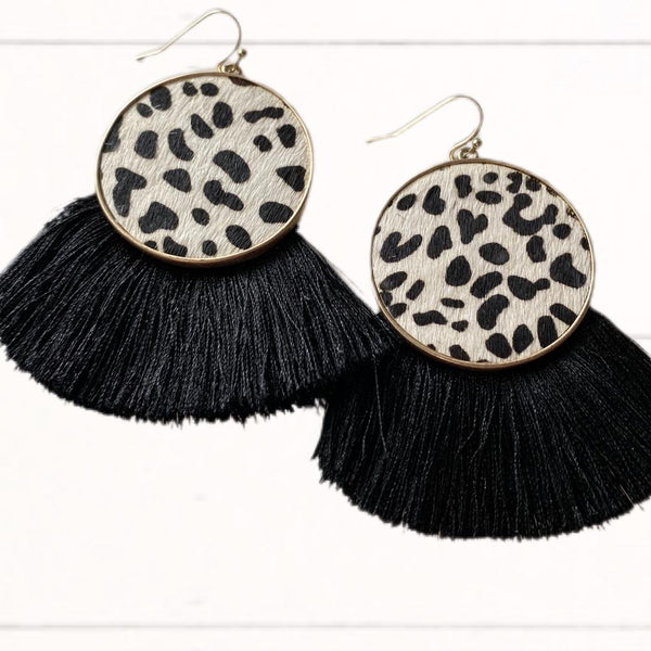 Black & White Animal Print Fringe Earrings