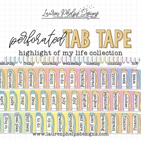 TAB TAPE: Pastel Rainbow Collection