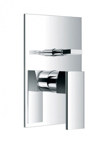 Pura Bloque Chrome Concealed Manual Shower Valve with Diverter