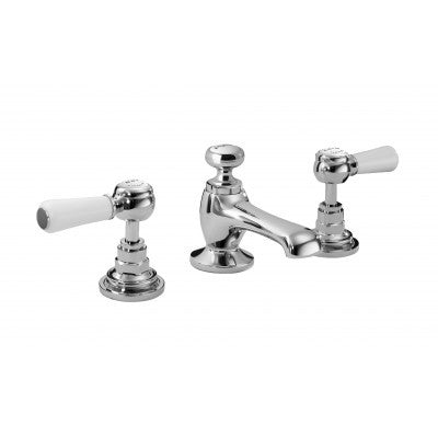 Bayswater 3 Tap Hole Deck Basin Mixer Tap - Black/Chrome or White/Chrome