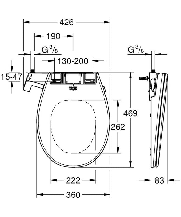 Grohe Bau 2-in-1 Manual Bidet Seat & Rimless Wall Hung Toilet