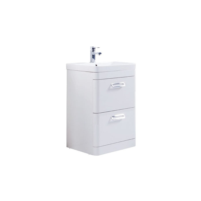 Kartell Metro White Floor Standing Drawer Unit With Ceramic Basin - Choose Size